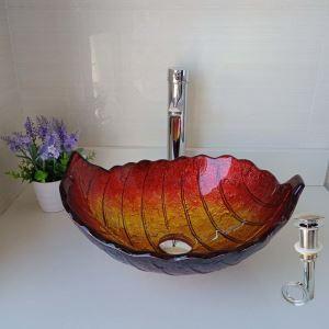 洗面ボウル 手洗い鉢 洗面器 洗面ボール ガラス 排水金具付 オシャレ 葉型 赤色 LC6876RSF