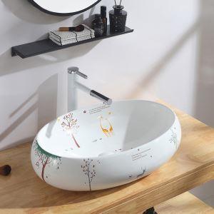 手洗い鉢 洗面ボウル 手洗器 洗面ボール 陶器 楕円型 置き型 排水栓&排水トラップ付