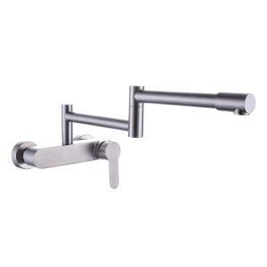 壁付水栓 キッチン蛇口 冷熱混合栓 台所蛇口 折畳み 回転可能 ステンレス鋼 ヘアライン