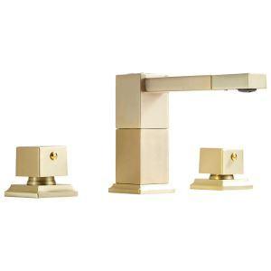 洗面蛇口 バス水栓 冷熱混合栓 手洗器蛇口 回転可能 ヘアラインゴールド 2ハンドル 3点
