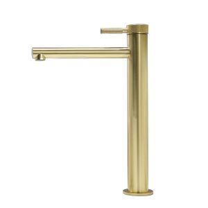 洗面蛇口 バス水栓 冷熱混合栓 水道蛇口 ヘアラインゴールド H305mm