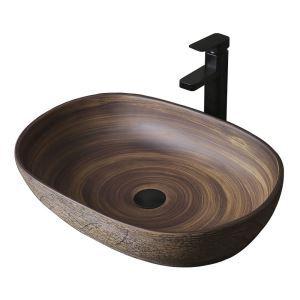 手洗い鉢 洗面ボウル 手洗器 洗面ボール 陶器 楕円型 置き型 排水栓&排水トラップ付 58cm