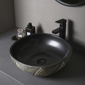 手洗い鉢 洗面ボウル 手洗器 洗面ボール 陶器 排水栓&排水トラップ付 40cm