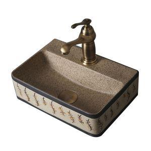 手洗い鉢 洗面ボウル 手洗器 洗面ボール 陶器 四角型 排水栓&排水トラップ付 35.5cm