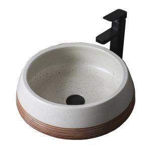 手洗い鉢 洗面ボウル 手洗器 洗面ボール 陶器 置き型 排水栓&排水トラップ付 41cm