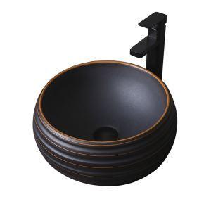 手洗い鉢 洗面ボウル 手洗器 洗面ボール 陶器 丸型 置き型 排水栓&排水トラップ付 40cm