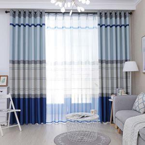 遮光カーテン オーダーカーテン 捺染 横縞柄 北欧風 地中海風(1枚)