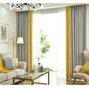 遮光カーテン オーダーカーテン オシャレ 2色スプライス 北欧風(1枚)