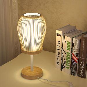 テーブルランプ スタンドライト 間接照明 卓上照明 デスクライト リビング 寝室 竹 手作り編み 和風 1灯 GYT0039