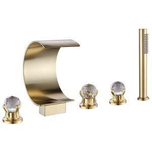 浴槽水栓 バス蛇口 シャワー混合栓 ハンドシャワー付 水道蛇口 5点 ヘアラインゴールド