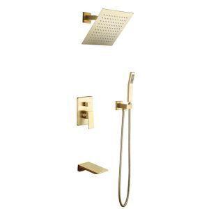 埋込形シャワー水栓 シャワーシステム ヘッドシャワー+ハンドシャワー+蛇口 3色