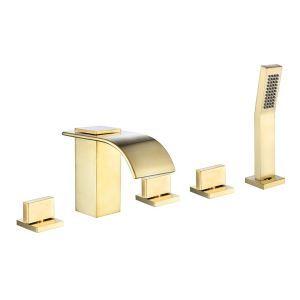 浴槽水栓 バス蛇口 シャワー混合栓 浴室水栓 ハンドシャワー付 水道蛇口 5点 ヘアラインゴールド
