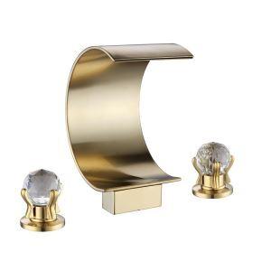 洗面蛇口 バス水栓 冷熱混合栓 浴槽蛇口 水道蛇口 2ハンドル C型 3点 金色