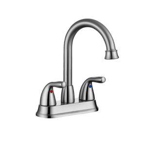 洗面蛇口 バス水栓 冷熱混合栓 ステンレス製 手洗器蛇口 水道蛇口 2ハンドル ヘアライン