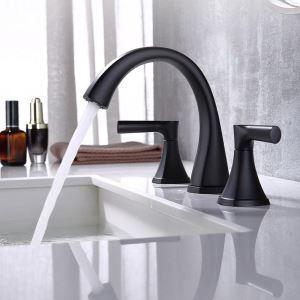 洗面蛇口 バス水栓 冷熱混合栓 ステンレス製 手洗器蛇口 水道蛇口 2ハンドル 黒色 艶消し