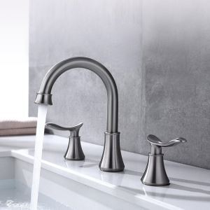 洗面蛇口 バス水栓 冷熱混合栓 ステンレス製 立水栓 水道蛇口 2ハンドル 2色