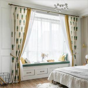 遮光カーテン オーダーカーテン 子供屋 寝室 パイナップル柄 捺染 綿&麻 田舎風(1枚)