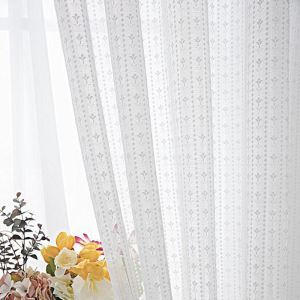 レースカーテン オーダーカーテン シアーカーテン 白色 幾何柄 欧米風(1枚)