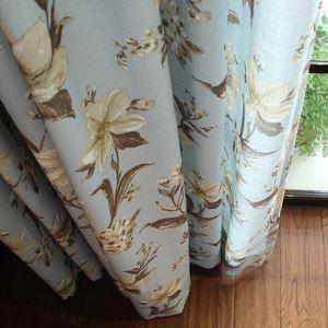 遮光カーテン オーダーカーテン リビング 捺染 綿&麻 田舎風(1枚)