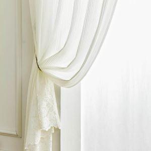 レースカーテン オーダーカーテン シアーカーテン 白色 植物柄 欧米風(1枚)