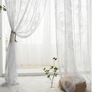 レースカーテン オーダーカーテン シアーカーテン 白色 バラ柄 欧米風(1枚)