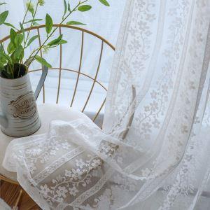 レースカーテン オーダーカーテン シアーカーテン 白色 花柄 欧米風(1枚)