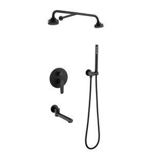 埋込形シャワー水栓 シャワーシステム デュアルヘッドシャワー+ハンドシャワー+蛇口 黒色