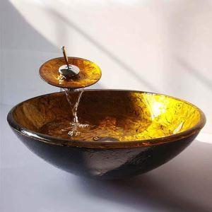 洗面ボウル&蛇口セット 手洗い鉢 洗面器 強化ガラス製 排水金具付 オシャレ SFS002