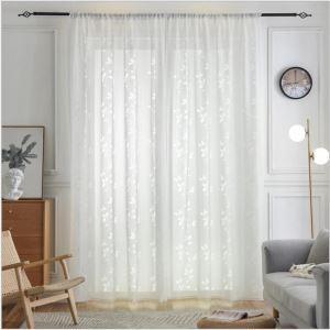 レースカーテン オーダーカーテン シアーカーテン 透かし彫り 白色 葉柄 欧米風(1枚)