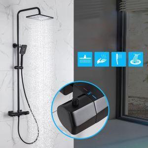 浴室シャワー水栓 シャワーシステム サーモスタット式混合栓 ヘッドシャワー+ハンドシャワー+蛇口 2色