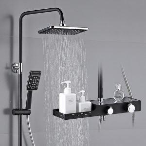 浴室シャワー水栓 シャワーシステム シャワーヘッド+ハンドシャワー+蛇口 小物収納付 黒色