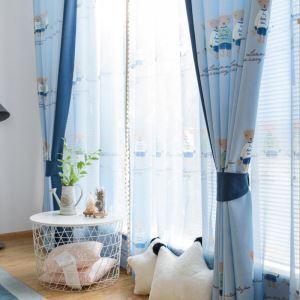 遮光カーテン オーダーカーテン 子供屋 寝室 熊柄 捺染 綿&麻 田舎風(1枚)