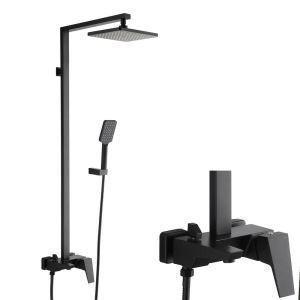 浴室シャワー水栓 シャワーシステム シャワーヘッド+ハンドシャワー+蛇口 黒色