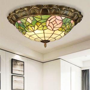 シーリングライト ステンドグラスランプ リビング照明 寝室照明 ローズ柄 3灯/4灯