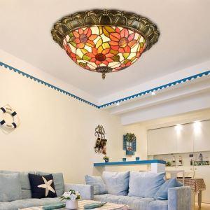 シーリングライト ステンドグラスランプ リビング照明 寝室照明 天井照明 ヒマワリ柄 3灯/4灯