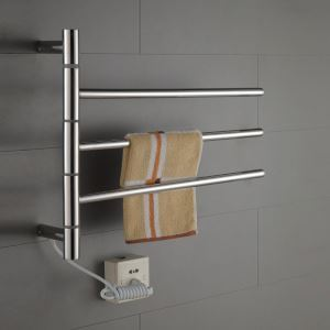 壁掛けタオルウォーマー バスヒーター タオルハンガー+簡易乾燥 ステンレス鋼 180°回転可能 30W