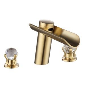 洗面蛇口 バス水栓 立水栓 冷熱混合栓 水道蛇口 2ハンドル 3色