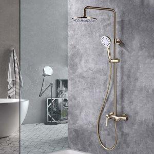 浴室シャワー水栓 シャワーシステム シャワーヘッド+ハンドシャワー+蛇口 ヘアラインゴールド