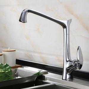 キッチン蛇口 台所水栓 冷熱混合栓 手洗器蛇口 回転可 4色