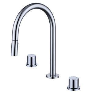 洗面蛇口 スプレー混合栓 ホース引出式 冷熱混合栓 水道蛇口 2ハンドル 3色
