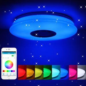 LEDシーリングライト リビング照明 リモコン付 タイマー付 APP制御 Bluetooth接続 無段階調光調色 8畳 36W D36cm
