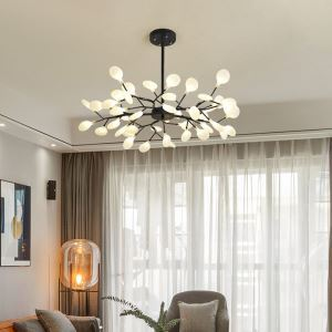 LEDシャンデリア リビング照明 ダイニング照明 寝室照明 枝型 45灯 黒色 金色