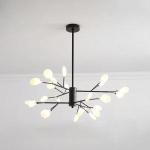 LEDシャンデリア リビング照明 ダイニング照明 寝室照明 枝型 24灯 黒色 金色