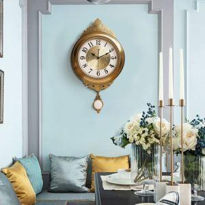 時計 壁掛け時計 静音時計 クロック 金属 振り子 北欧風 豪華 レトロ インテリア