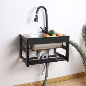 壁掛けシンク キッチンシンク 簡易流し台 ホルダー付 屋内屋外兼用 ステンレス製 W4838