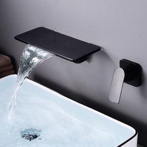 壁付水栓 洗面蛇口 バス水栓 水道蛇口 冷熱混合栓 手洗器蛇口 四角形 2色