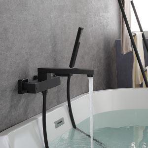 浴槽水栓 壁付蛇口 サーモスタット式混合栓 バス水栓 ハンドシャワー付 浴室水栓 黒色