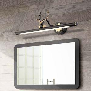 LEDミラーライト 壁掛け照明 ウォールランプ 化粧室ブラケット 180度調整 鹿角型 黒金色