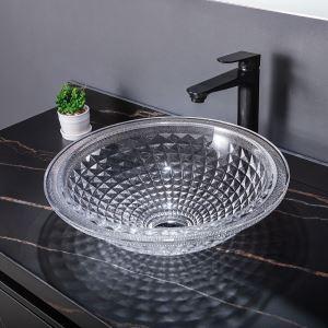 洗面ボール 手洗鉢 洗面器 ガラス製 ダイカスト 排水金具付 オシャレ 透明 丸型 42cm