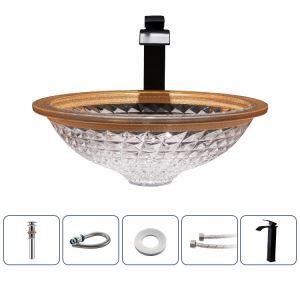 洗面ボール 手洗鉢 洗面器 ガラス製 ダイカスト 排水金具付 オシャレ 丸型 42cm
